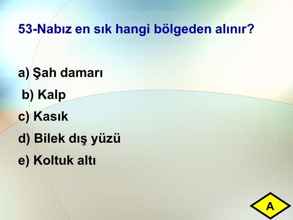 53-Nabız en sık hangi bölgeden alınır
