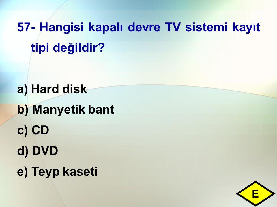 57- Hangisi kapalı devre TV sistemi kayıt tipi değildir