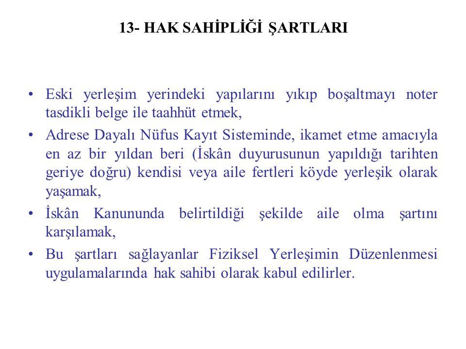 13- HAK SAHİPLİĞİ ŞARTLARI