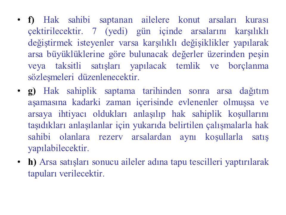 f) Hak sahibi saptanan ailelere konut arsaları kurası çektirilecektir