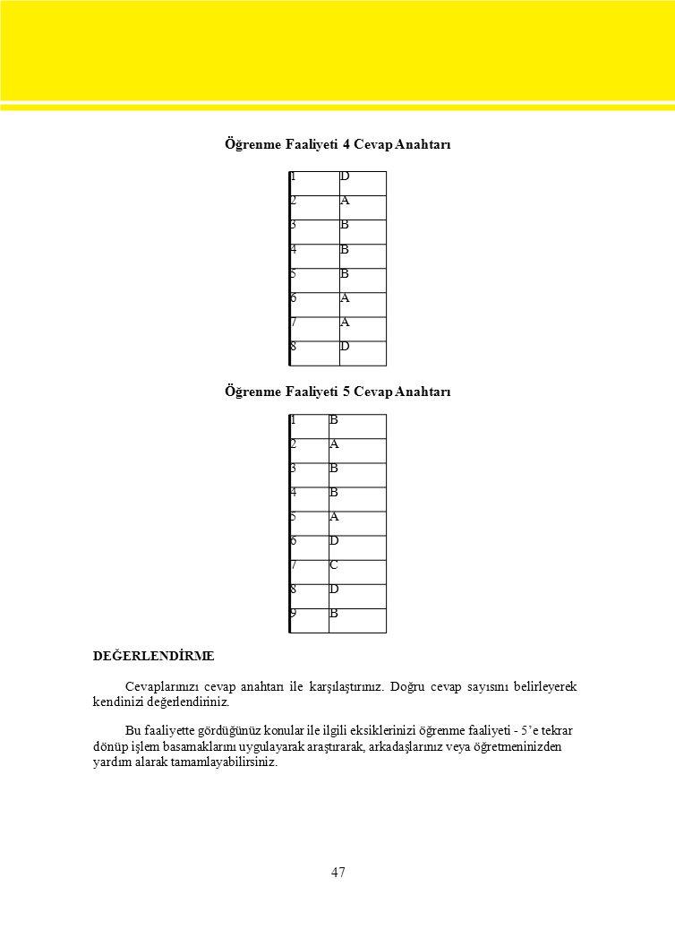 Öğrenme Faaliyeti 4 Cevap Anahtarı