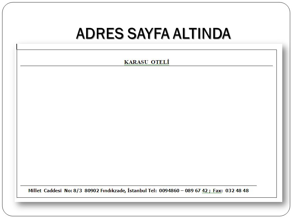 ADRES SAYFA ALTINDA