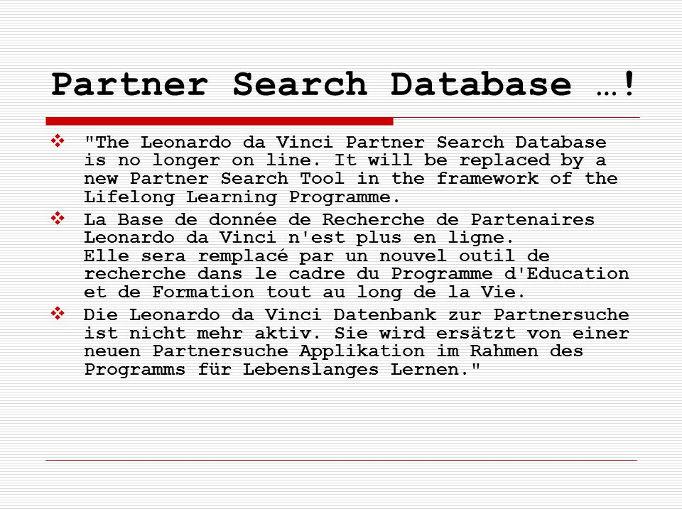Partner Search Database …!