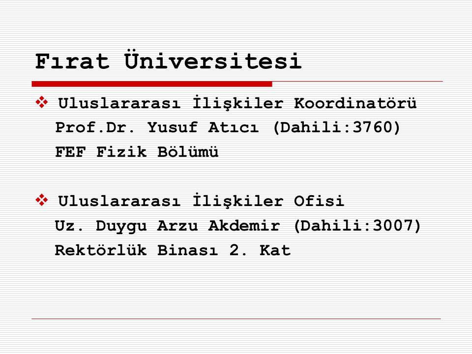 Fırat Üniversitesi Uluslararası İlişkiler Koordinatörü