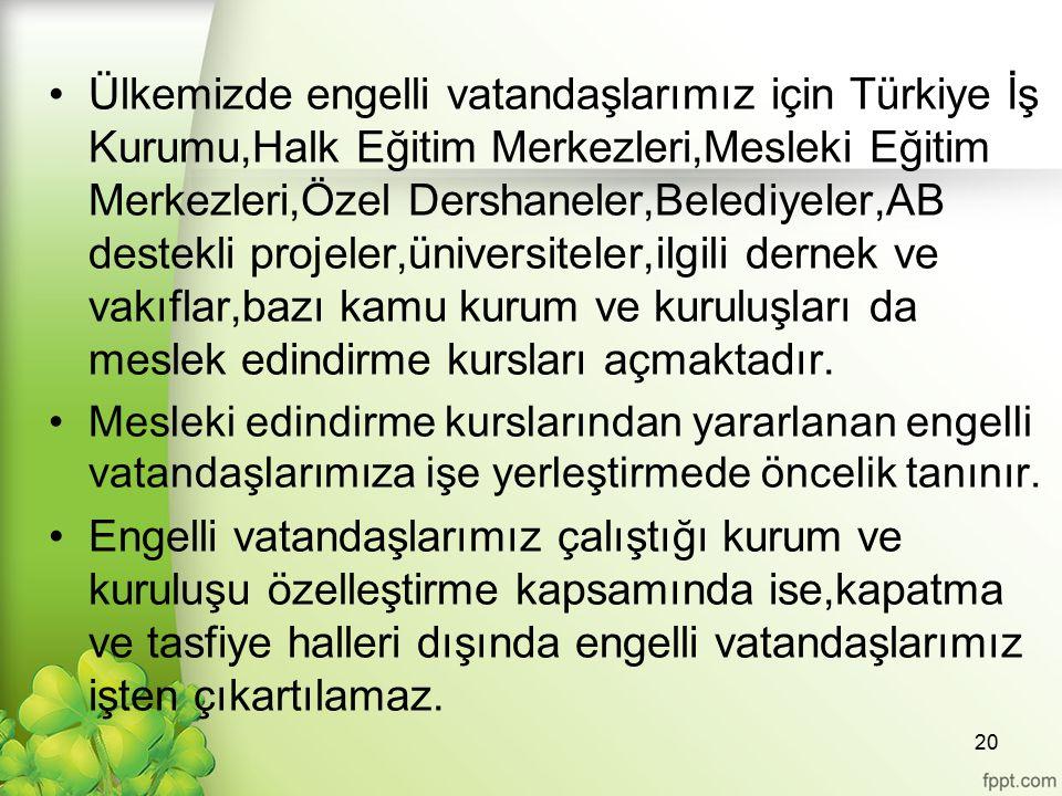 Ülkemizde engelli vatandaşlarımız için Türkiye İş Kurumu,Halk Eğitim Merkezleri,Mesleki Eğitim Merkezleri,Özel Dershaneler,Belediyeler,AB destekli projeler,üniversiteler,ilgili dernek ve vakıflar,bazı kamu kurum ve kuruluşları da meslek edindirme kursları açmaktadır.