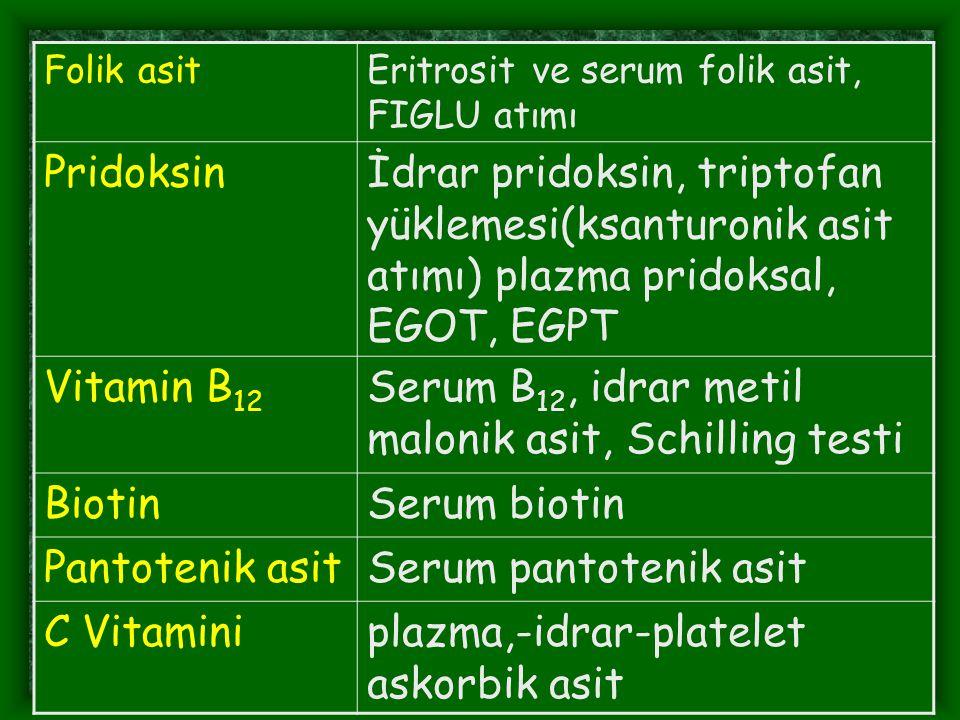Serum B12, idrar metil malonik asit, Schilling testi Biotin