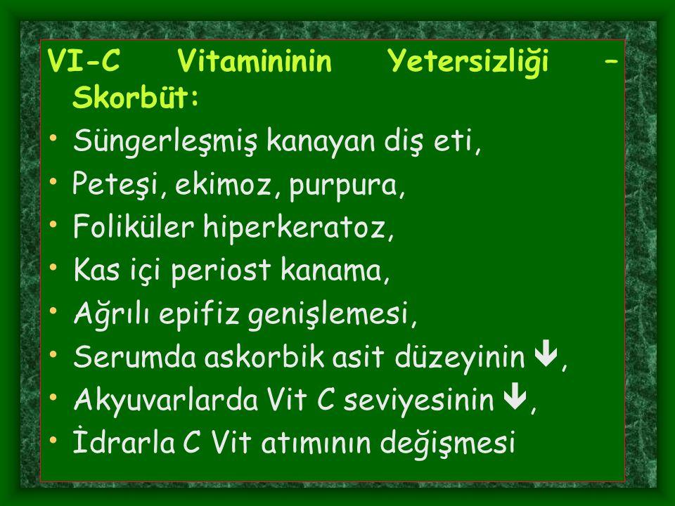 VI-C Vitamininin Yetersizliği – Skorbüt: