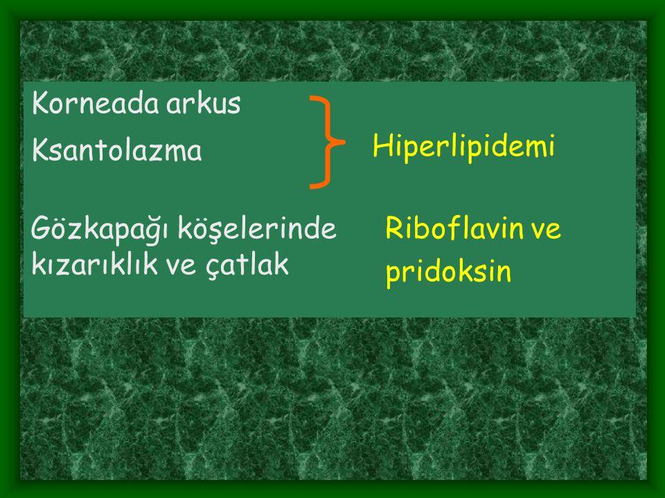 Korneada arkus Hiperlipidemi. Ksantolazma. Gözkapağı köşelerinde kızarıklık ve çatlak. Riboflavin ve.