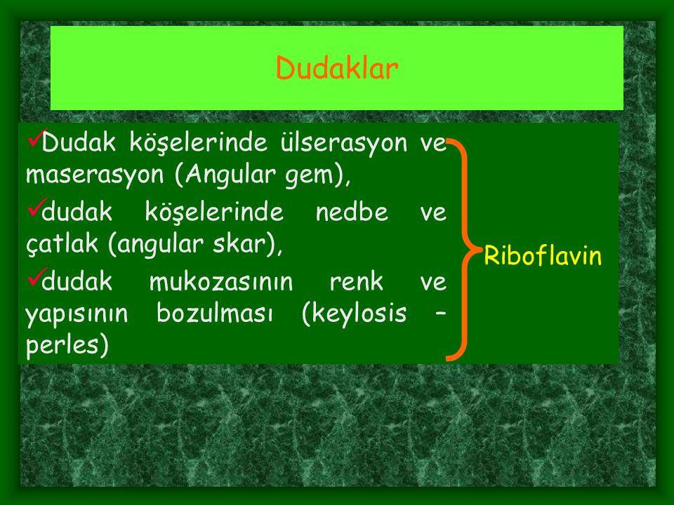 Dudaklar Dudak köşelerinde ülserasyon ve maserasyon (Angular gem),
