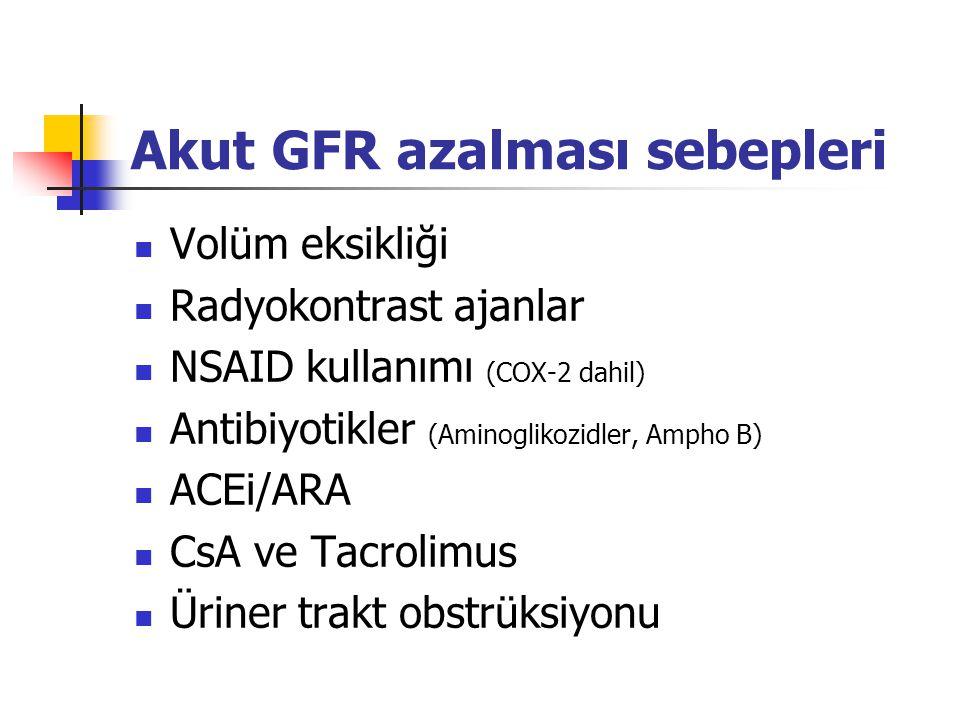 Akut GFR azalması sebepleri