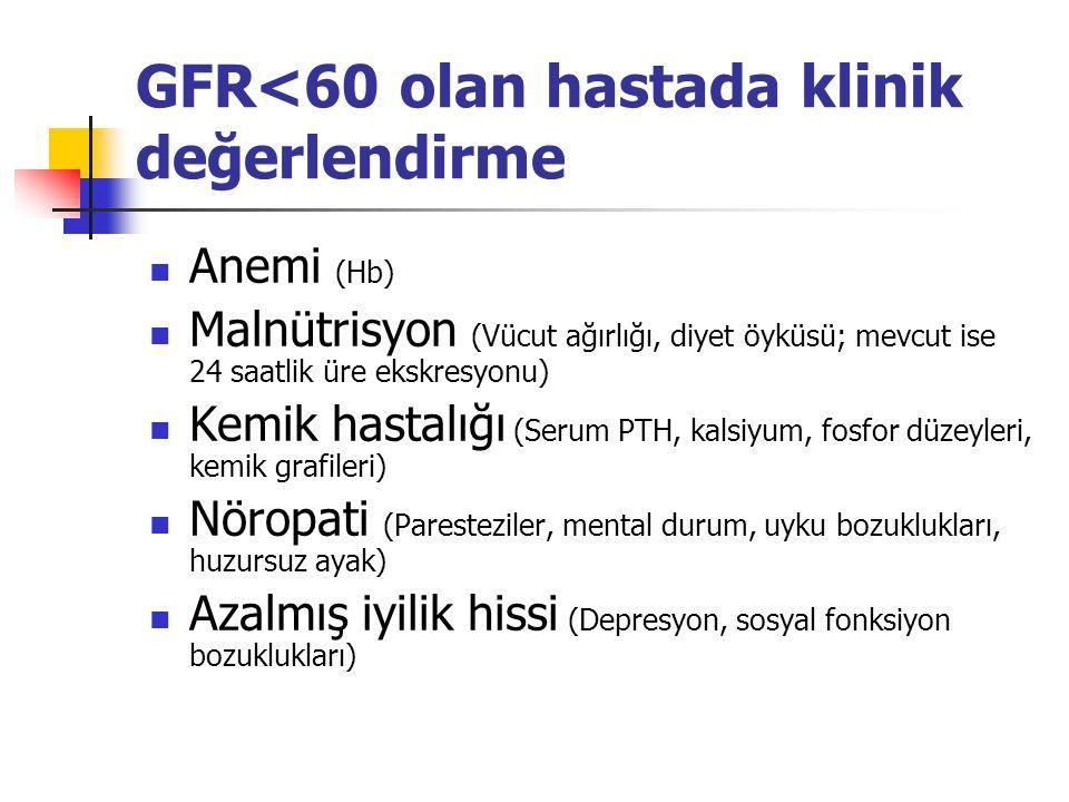 GFR<60 olan hastada klinik değerlendirme