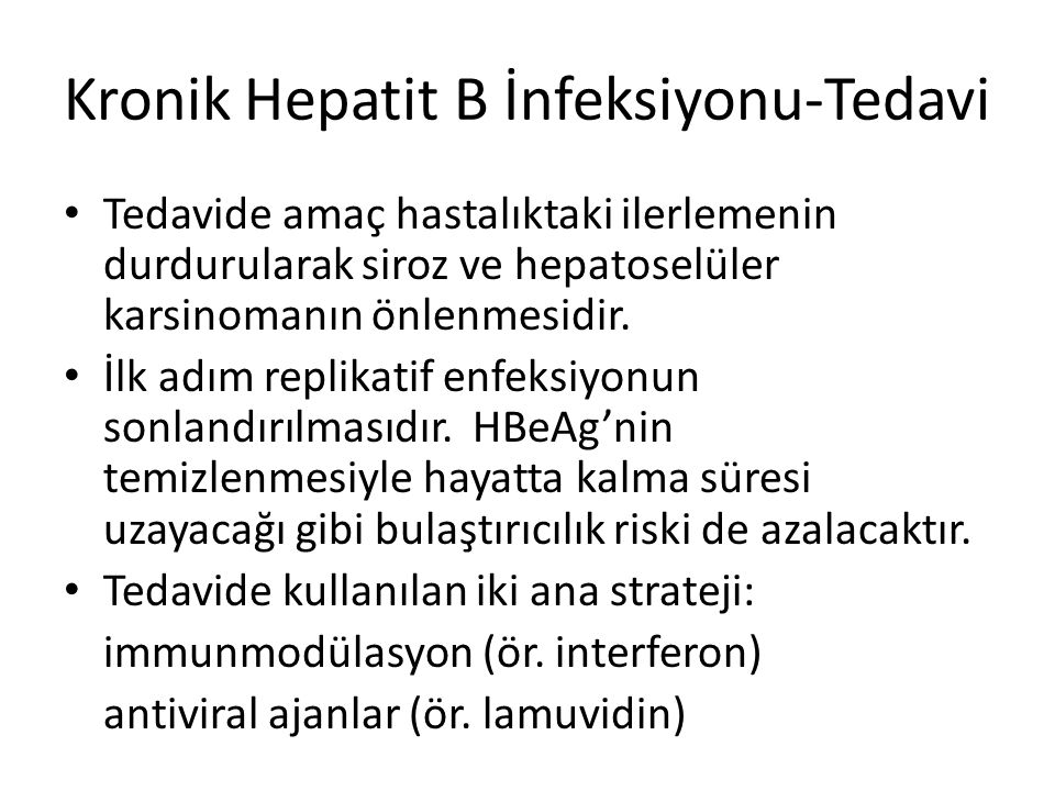 Kronik Hepatit B İnfeksiyonu-Tedavi