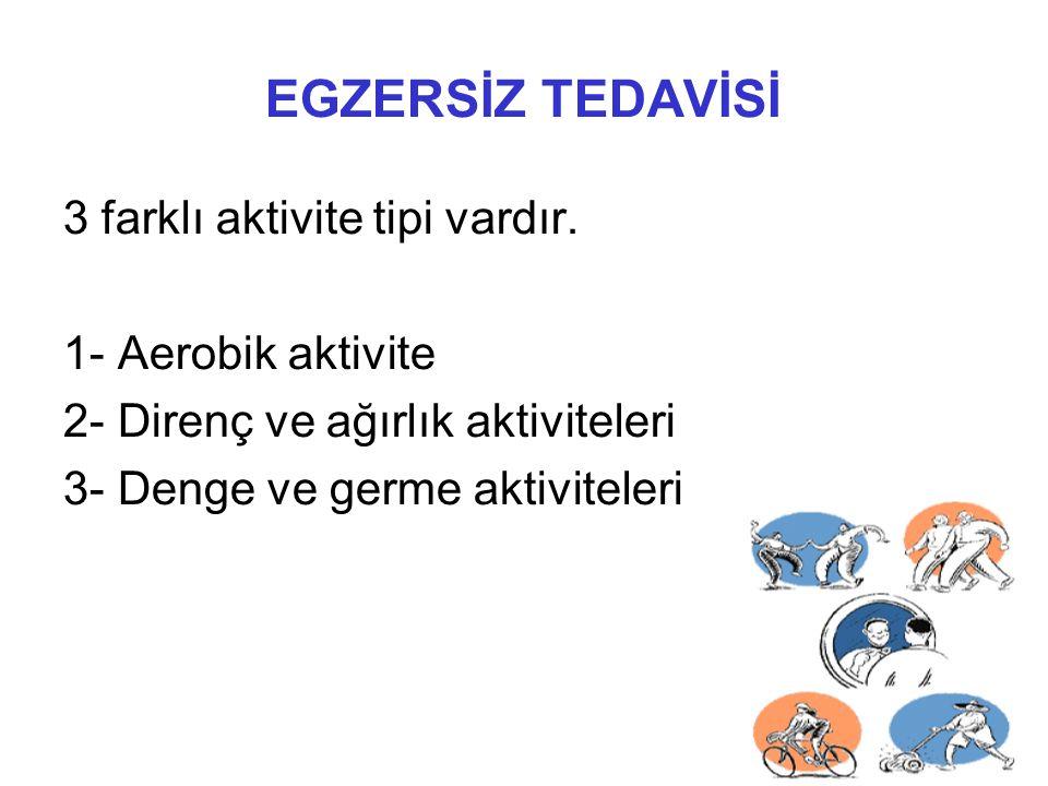 EGZERSİZ TEDAVİSİ 3 farklı aktivite tipi vardır. 1- Aerobik aktivite