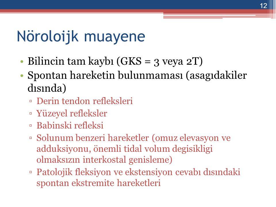 Nöroloijk muayene Bilincin tam kaybı (GKS = 3 veya 2T)