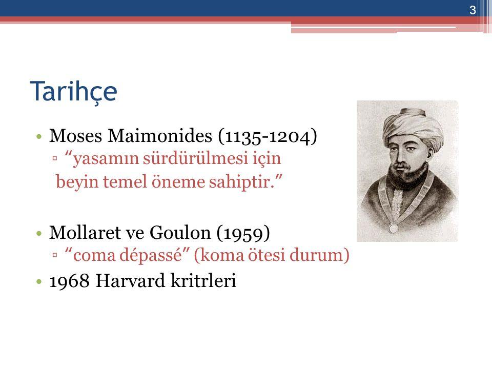 Tarihçe Moses Maimonides (1135-1204) Mollaret ve Goulon (1959)