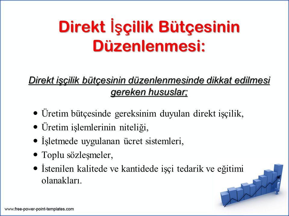 Direkt İşçilik Bütçesinin Düzenlenmesi: Direkt işçilik bütçesinin düzenlenmesinde dikkat edilmesi gereken hususlar;
