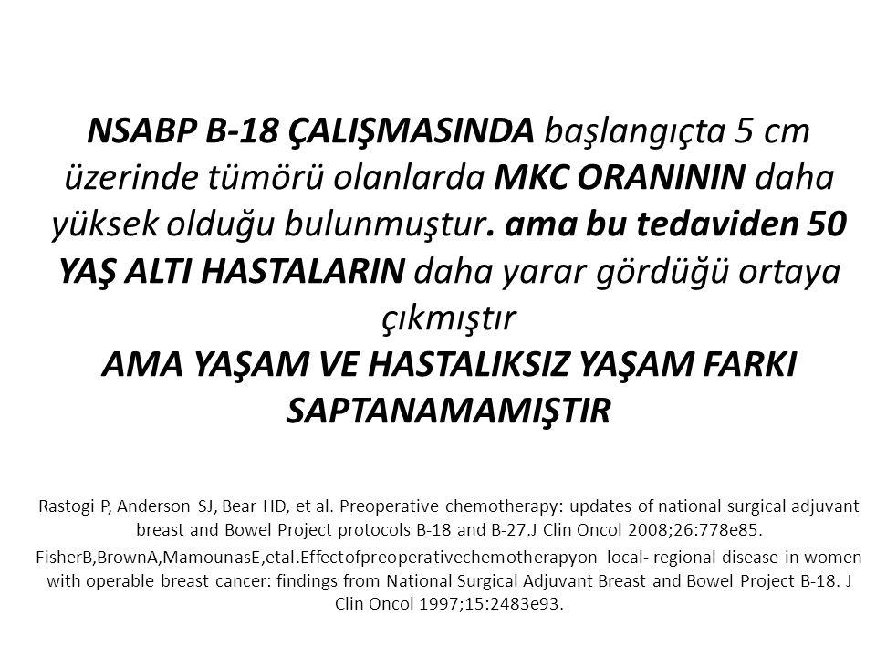 NSABP B-18 ÇALIŞMASINDA başlangıçta 5 cm üzerinde tümörü olanlarda MKC ORANININ daha yüksek olduğu bulunmuştur. ama bu tedaviden 50 YAŞ ALTI HASTALARIN daha yarar gördüğü ortaya çıkmıştır AMA YAŞAM VE HASTALIKSIZ YAŞAM FARKI SAPTANAMAMIŞTIR