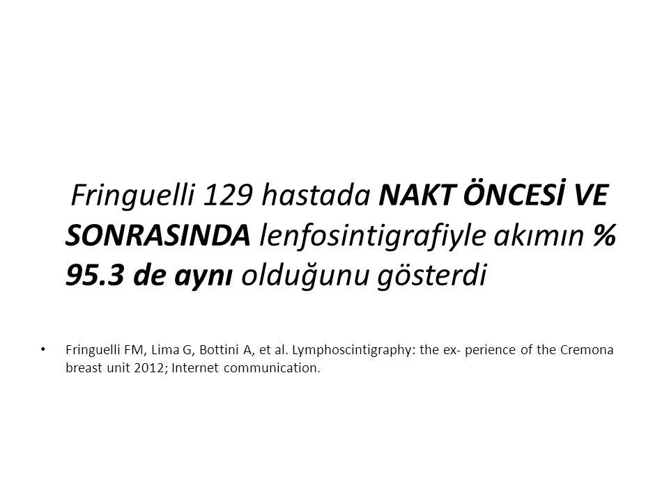 Fringuelli 129 hastada NAKT ÖNCESİ VE SONRASINDA lenfosintigrafiyle akımın % 95.3 de aynı olduğunu gösterdi
