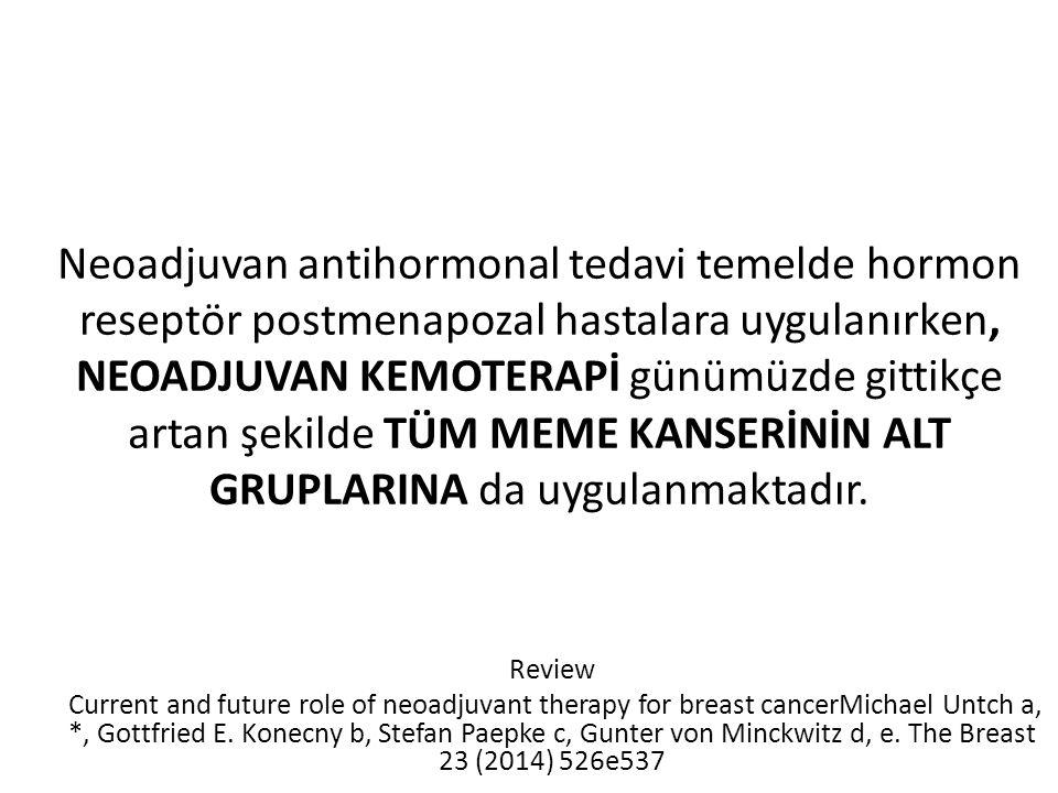 Neoadjuvan antihormonal tedavi temelde hormon reseptör postmenapozal hastalara uygulanırken, NEOADJUVAN KEMOTERAPİ günümüzde gittikçe artan şekilde TÜM MEME KANSERİNİN ALT GRUPLARINA da uygulanmaktadır.