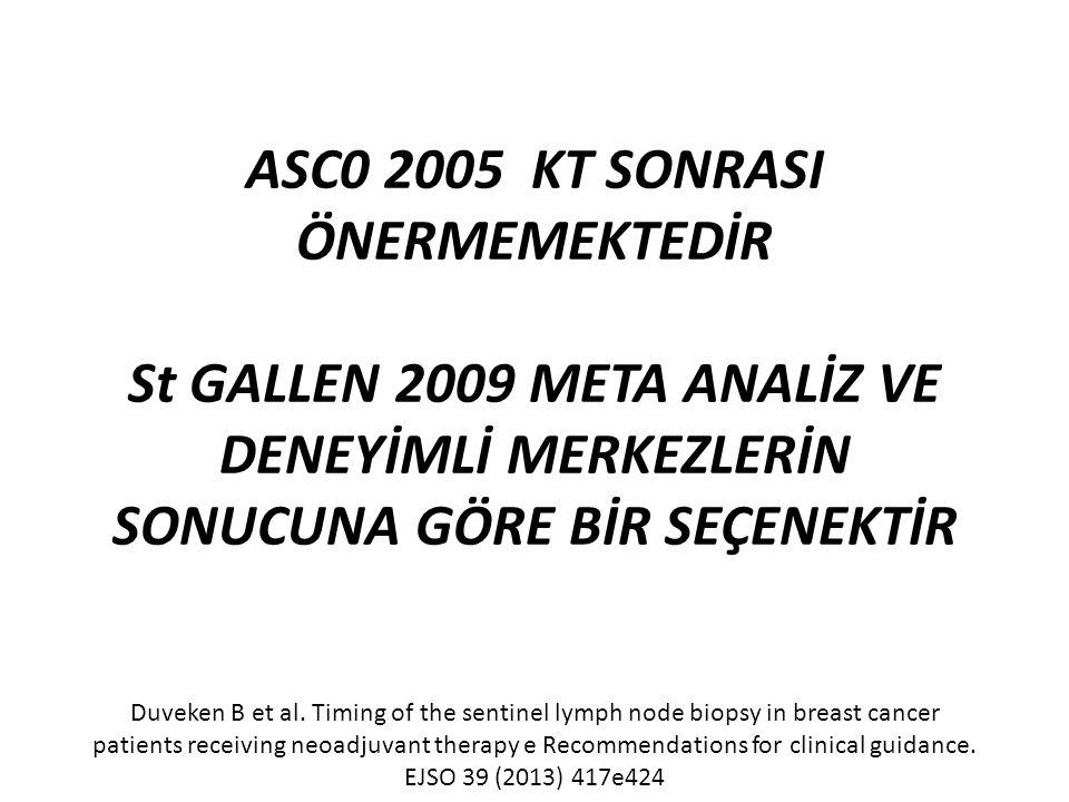 ASC0 2005 KT SONRASI ÖNERMEMEKTEDİR St GALLEN 2009 META ANALİZ VE DENEYİMLİ MERKEZLERİN SONUCUNA GÖRE BİR SEÇENEKTİR Duveken B et al.