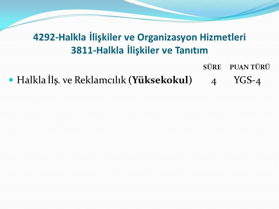 4292-Halkla İlişkiler ve Organizasyon Hizmetleri 3811-Halkla İlişkiler ve Tanıtım