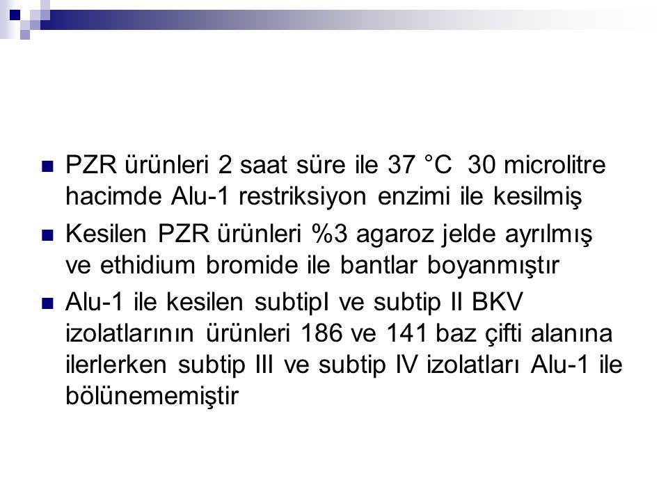 PZR ürünleri 2 saat süre ile 37 °C 30 microlitre hacimde Alu-1 restriksiyon enzimi ile kesilmiş