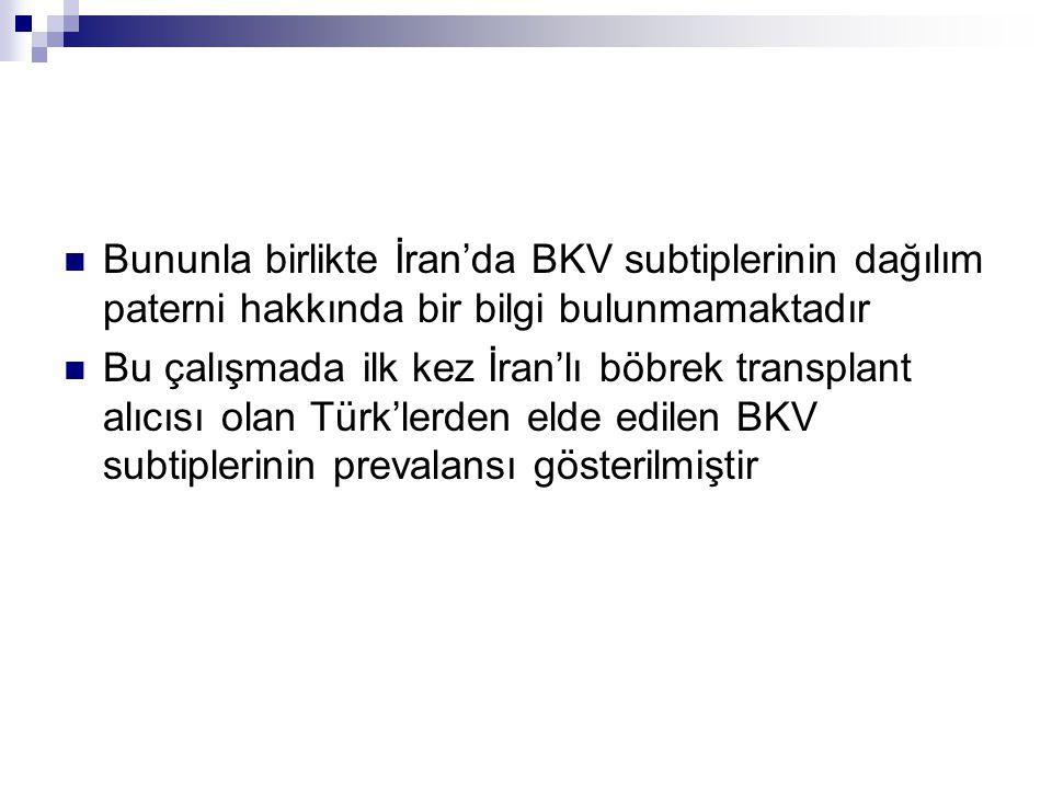 Bununla birlikte İran'da BKV subtiplerinin dağılım paterni hakkında bir bilgi bulunmamaktadır