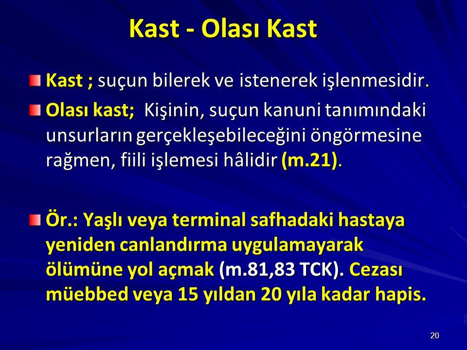 Kast - Olası Kast Kast ; suçun bilerek ve istenerek işlenmesidir.