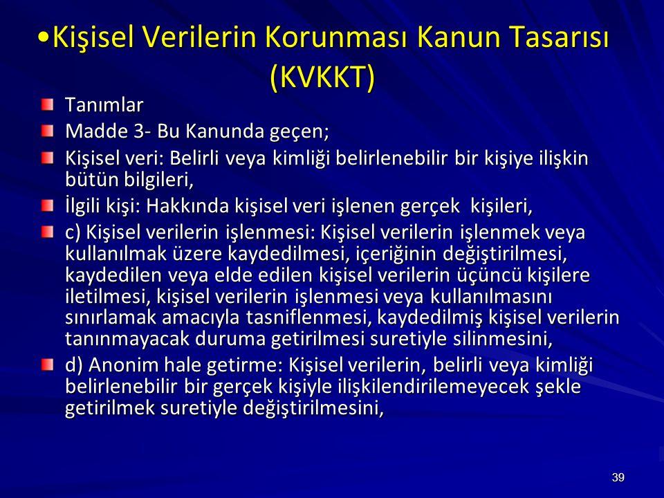Kişisel Verilerin Korunması Kanun Tasarısı (KVKKT)