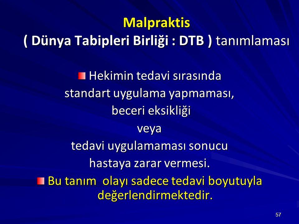 Malpraktis ( Dünya Tabipleri Birliği : DTB ) tanımlaması