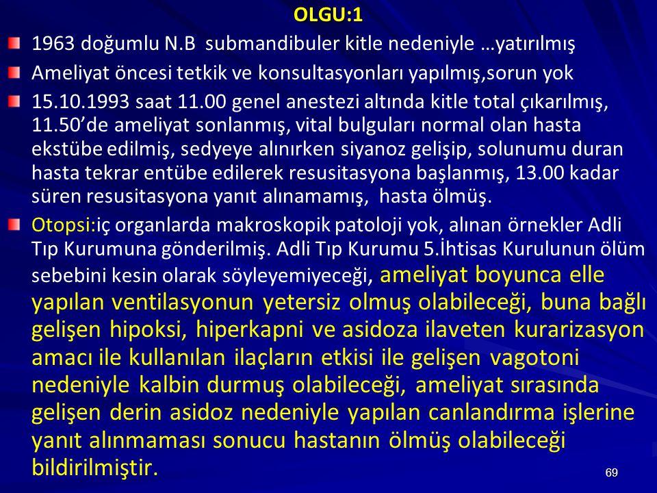 OLGU:1 1963 doğumlu N.B submandibuler kitle nedeniyle …yatırılmış. Ameliyat öncesi tetkik ve konsultasyonları yapılmış,sorun yok.