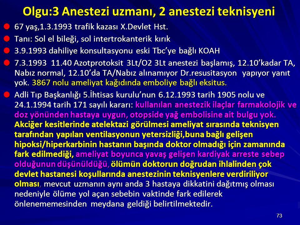 Olgu:3 Anestezi uzmanı, 2 anestezi teknisyeni