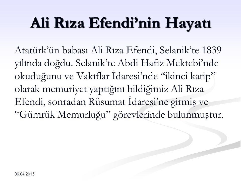 Ali Rıza Efendi'nin Hayatı