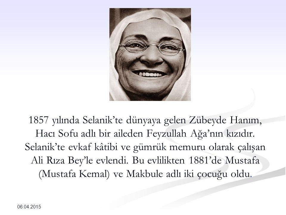 1857 yılında Selanik'te dünyaya gelen Zübeyde Hanım, Hacı Sofu adlı bir aileden Feyzullah Ağa'nın kızıdır. Selanik'te evkaf kâtibi ve gümrük memuru olarak çalışan Ali Rıza Bey'le evlendi. Bu evlilikten 1881'de Mustafa (Mustafa Kemal) ve Makbule adlı iki çocuğu oldu.