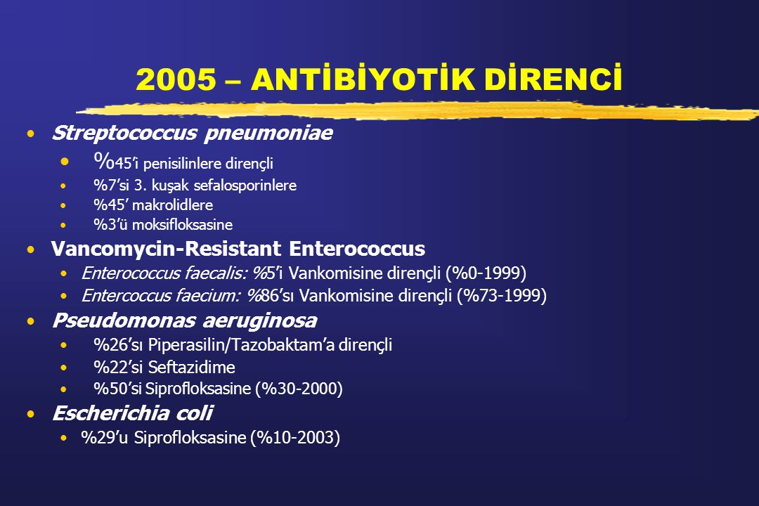 2005 – ANTİBİYOTİK DİRENCİ %45'i penisilinlere dirençli