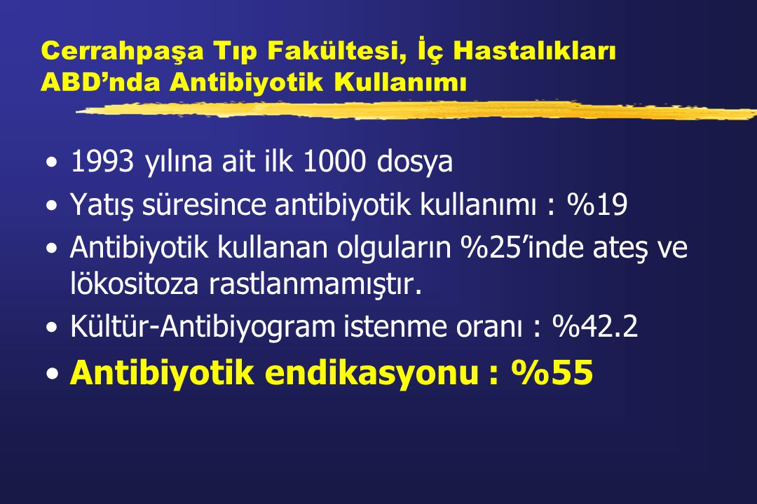 Antibiyotik endikasyonu : %55