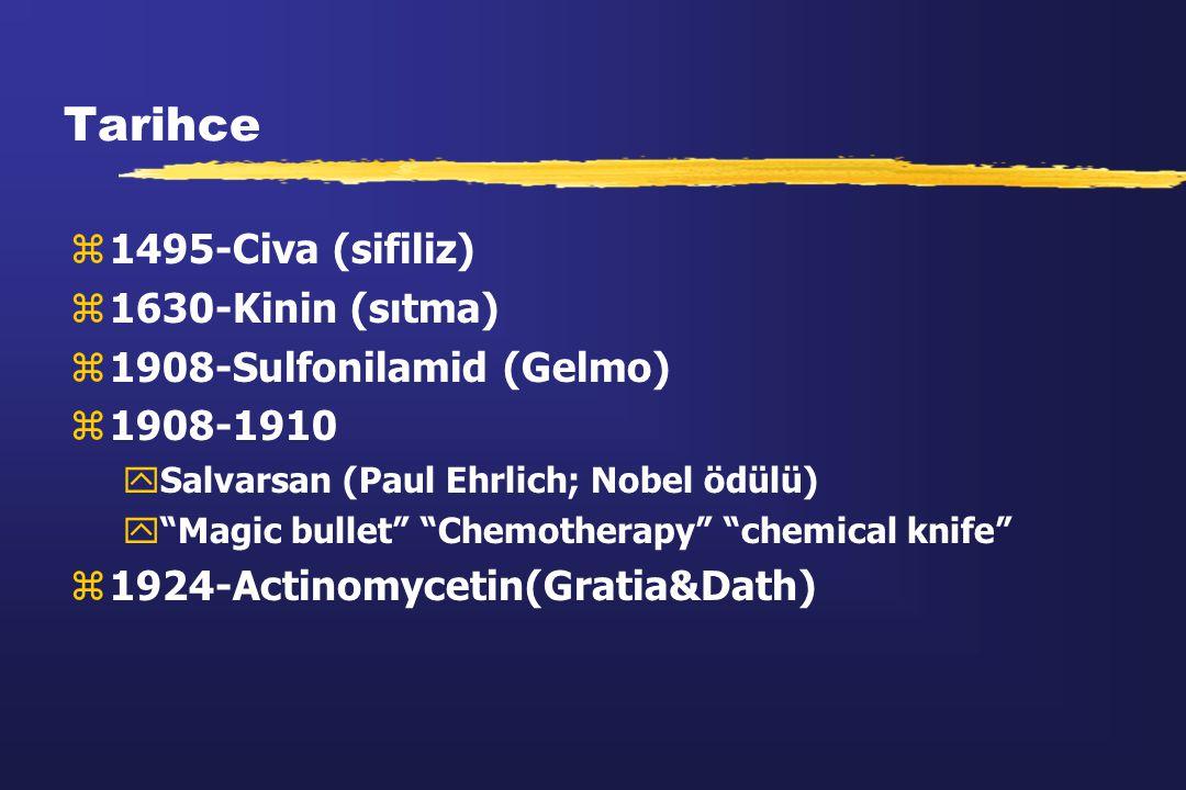 Tarihce 1495-Civa (sifiliz) 1630-Kinin (sıtma)