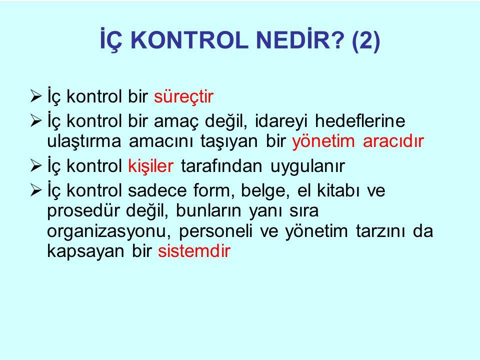 İÇ KONTROL NEDİR (2) İç kontrol bir süreçtir