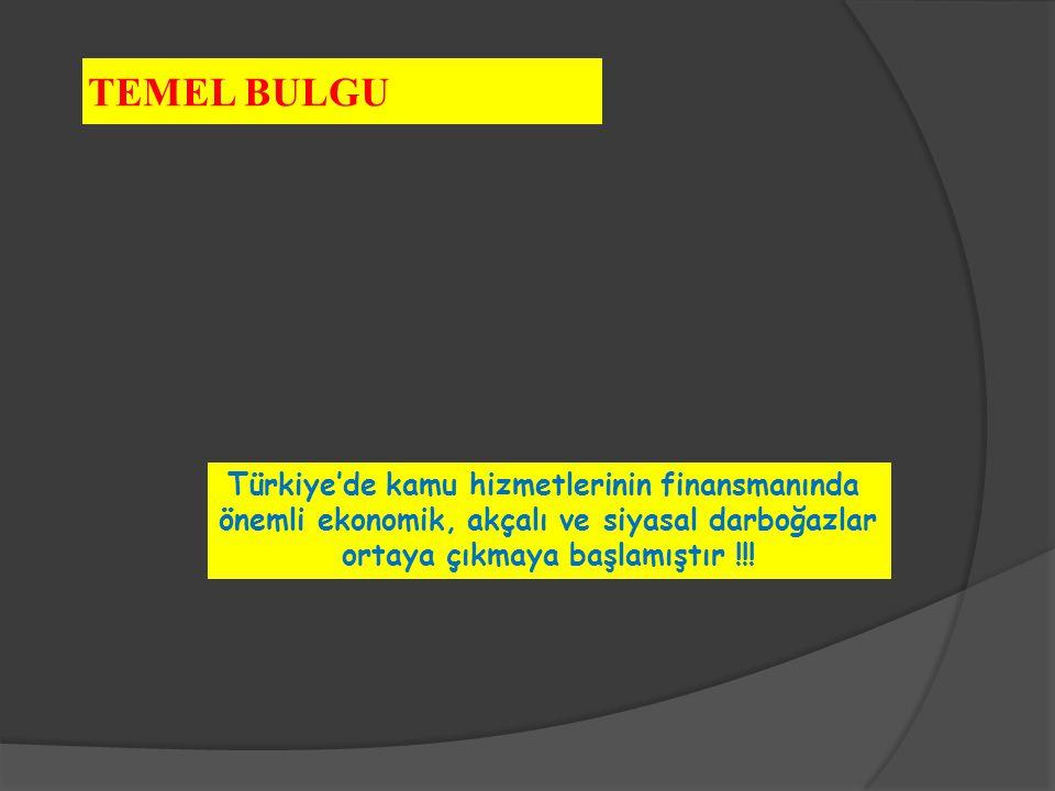 TEMEL BULGU Türkiye'de kamu hizmetlerinin finansmanında