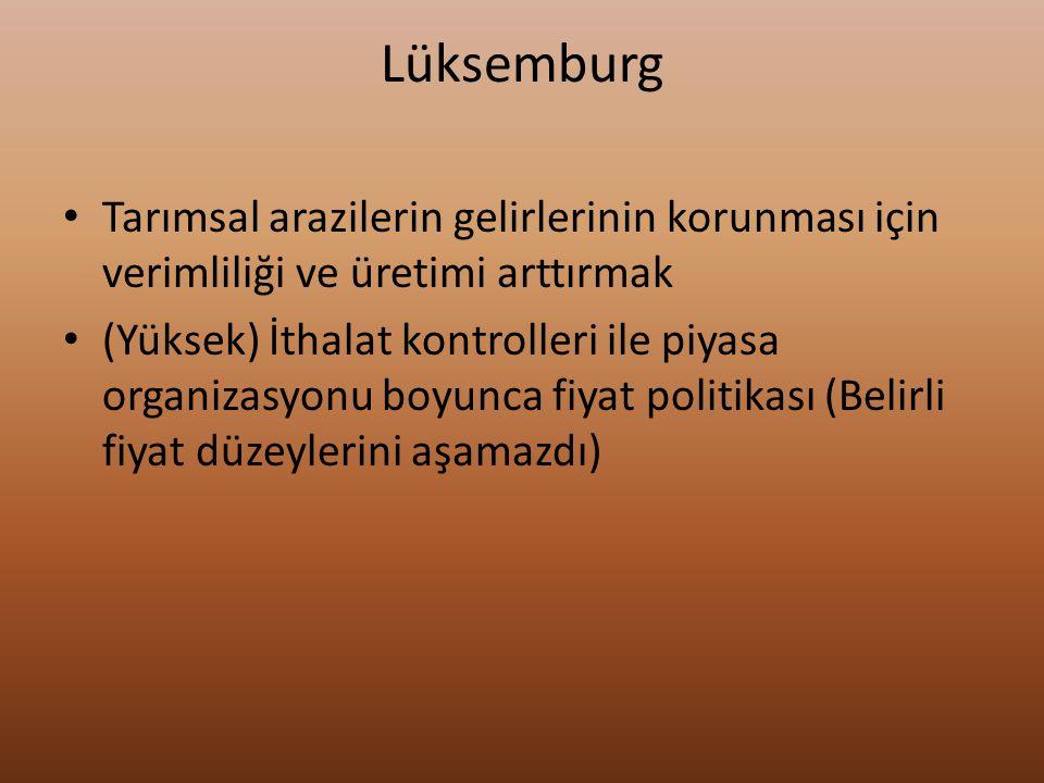 Lüksemburg Tarımsal arazilerin gelirlerinin korunması için verimliliği ve üretimi arttırmak.