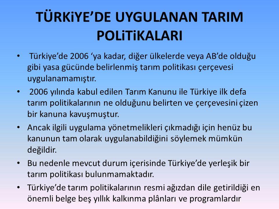 TÜRKiYE'DE UYGULANAN TARIM POLiTiKALARI