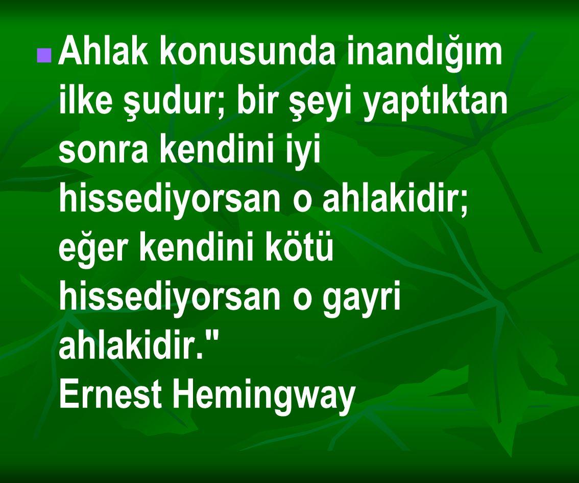 Ahlak konusunda inandığım ilke şudur; bir şeyi yaptıktan sonra kendini iyi hissediyorsan o ahlakidir; eğer kendini kötü hissediyorsan o gayri ahlakidir. Ernest Hemingway