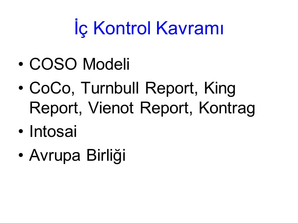 İç Kontrol Kavramı COSO Modeli