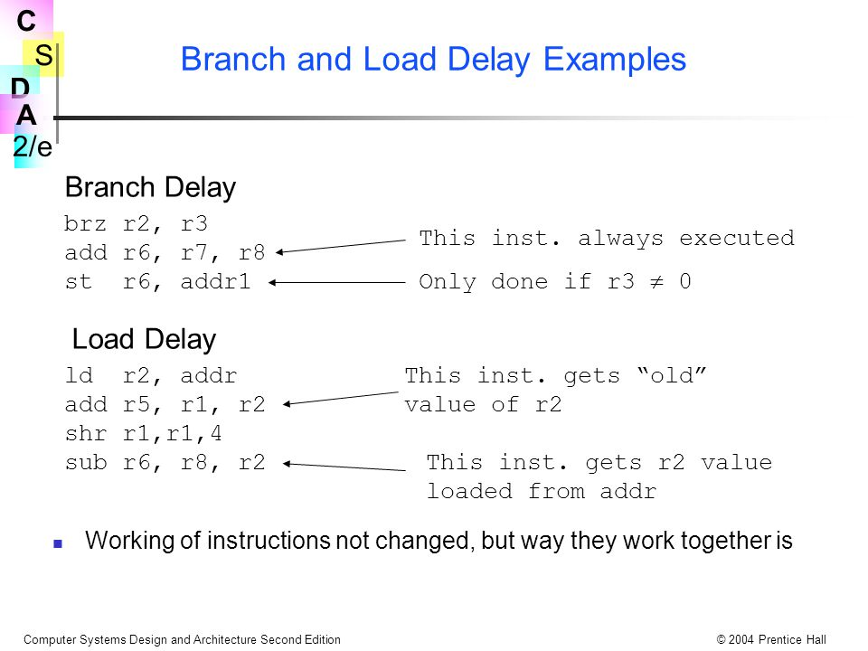 Branch and Load Delay Examples