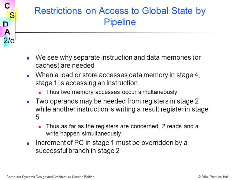 Restrictions on Access to Global State by Pipeline
