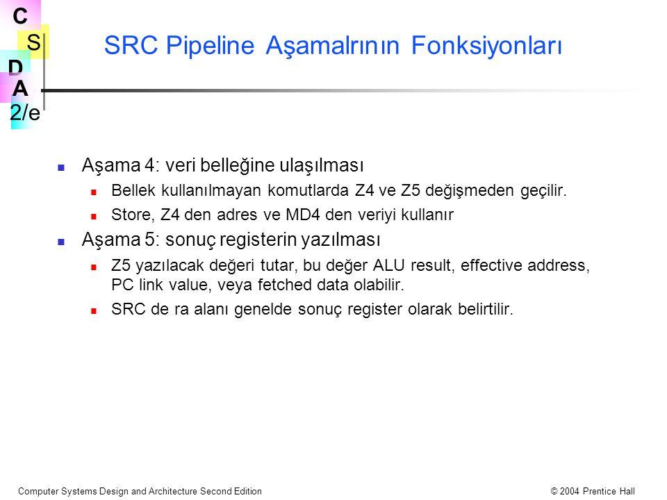 SRC Pipeline Aşamalrının Fonksiyonları
