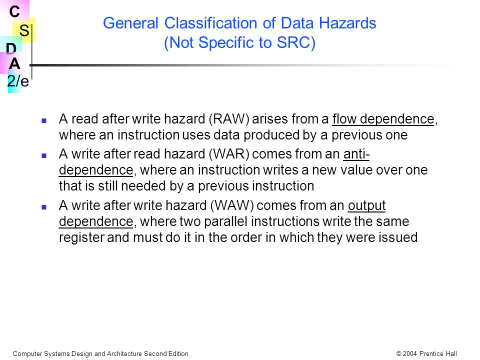General Classification of Data Hazards (Not Specific to SRC)