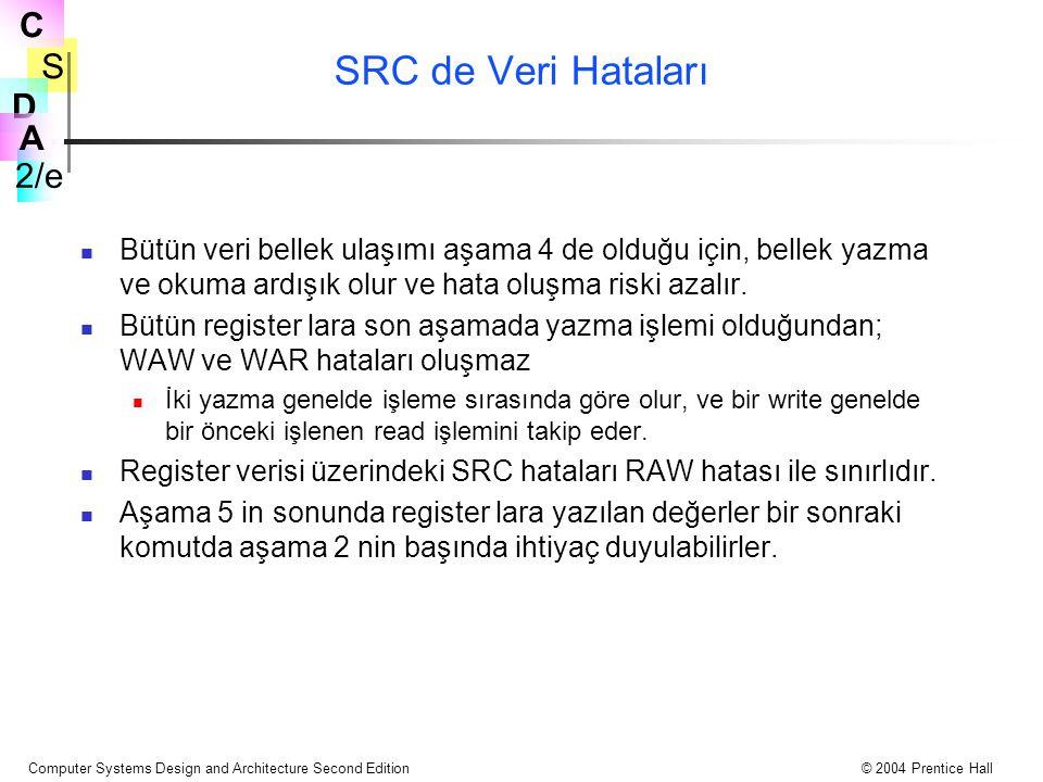 SRC de Veri Hataları Bütün veri bellek ulaşımı aşama 4 de olduğu için, bellek yazma ve okuma ardışık olur ve hata oluşma riski azalır.