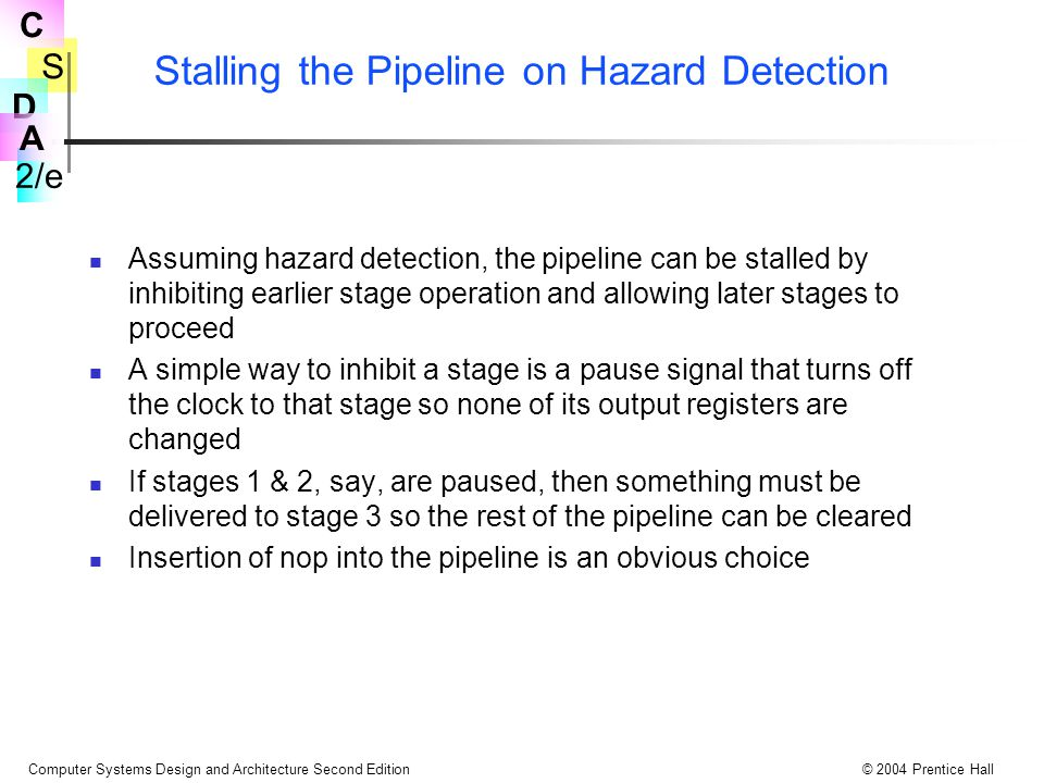 Stalling the Pipeline on Hazard Detection