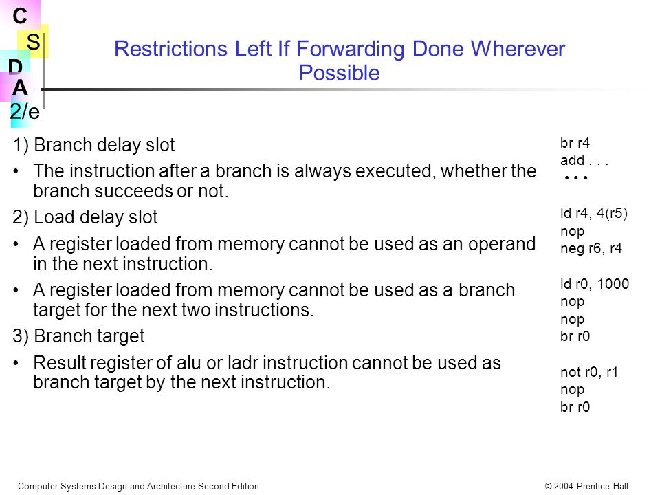 Restrictions Left If Forwarding Done Wherever Possible